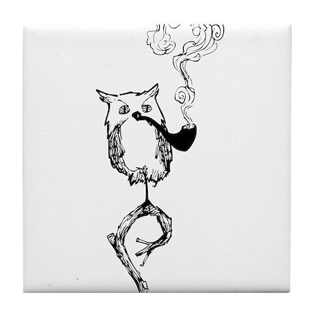 Philosophy Owl Tile Coaster