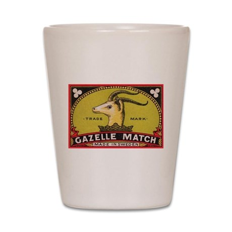 Antique Gazelle Swedish Matchbox Label Shot Glass