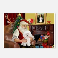 Santa's Bichon Frise Postcards (Package of 8)