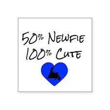 """50% Newfie - 100% Cute Square Sticker 3"""" x 3"""""""
