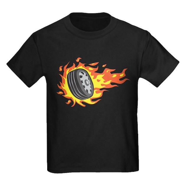 Flaming Tire Kids Dark T Shirt Flaming Tire T