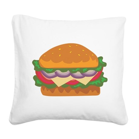 Burger Square Canvas Pillow