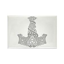 Mjolnir Silver Rectangle Magnet