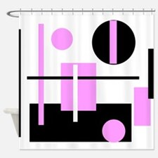 Fashionable pink black and white abstract square S