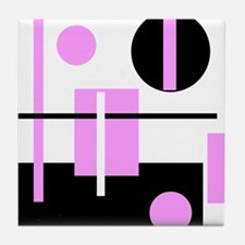 Fashionable pink black and white abstract square T