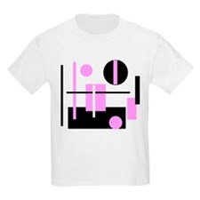 Fashionable pink black and white abstract square K