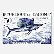 Vintage 1965 Dahomey Sailfish Postage Stamp Postca