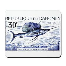 Vintage 1965 Dahomey Sailfish Postage Stamp Mousep