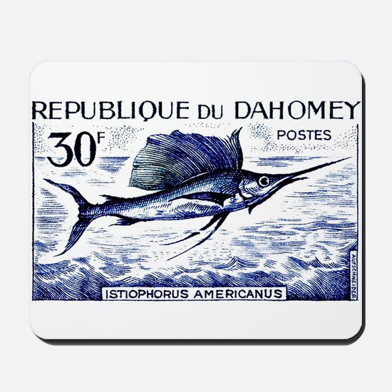 Vintage 1965 Dahomey Sailfish Postage Stamp Mousep