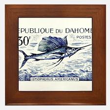 Vintage 1965 Dahomey Sailfish Postage Stamp Framed