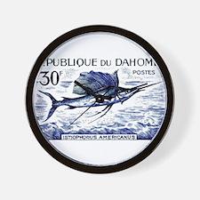 Vintage 1965 Dahomey Sailfish Postage Stamp Wall C