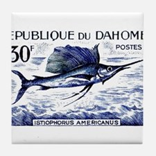 Vintage 1965 Dahomey Sailfish Postage Stamp Tile C