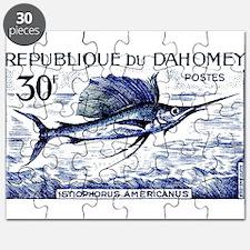 Vintage 1965 Dahomey Sailfish Postage Stamp Puzzle