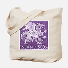 Vintage 1989 Iceland Dragon Postage Stamp Tote Bag