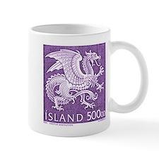 Vintage 1989 Iceland Dragon Postage Stamp Mug