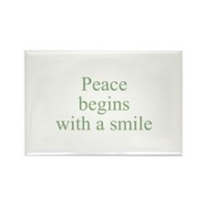 Peace begins with a smile Rectangle Magnet (10 pac