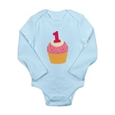 1st Birthday Cupcake Long Sleeve Infant Bodysuit