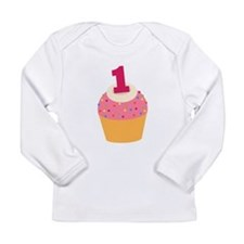 1st Birthday Cupcake Long Sleeve Infant T-Shirt