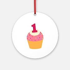 1st Birthday Cupcake Ornament (Round)