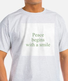 Peace begins with a smile Ash Grey T-Shirt