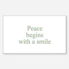 Peace begins with a smile Rectangle Decal