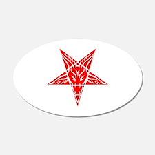 Baphomet Pentagram Red Wall Decal