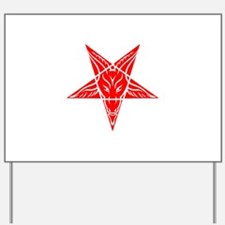 Baphomet Pentagram Red Yard Sign