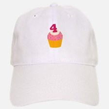 4th Birthday Cupcake Baseball Baseball Cap