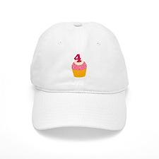 4th Birthday Cupcake Baseball Cap