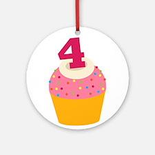 4th Birthday Cupcake Ornament (Round)