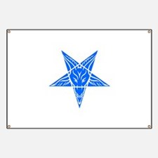Baphomet Pentagram Blue Banner