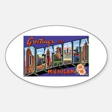 Detroit Michigan Greetings Oval Decal