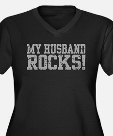 My Husband Rocks Women's Plus Size V-Neck Dark T-S