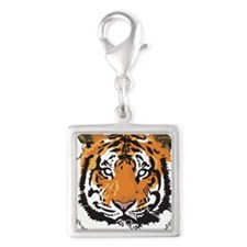 Tiger Silver Square Charm