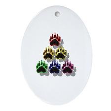 6 RAINBOW BEAR PAWS SHADOWED Oval Ornament