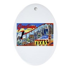 Galveston Texas Greetings Oval Ornament