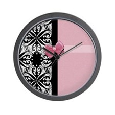 Parisian Damask Pink Ribbon Wall Clock