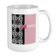 Parisian Damask Pink Ribbon Mug