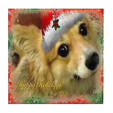 Christmas Corgi Tile Coaster