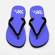 Blue mr and mrs flip flops for him