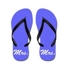 Blue mr and mrs flip flops for her