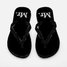 Black mr and mrs flip flops - for him