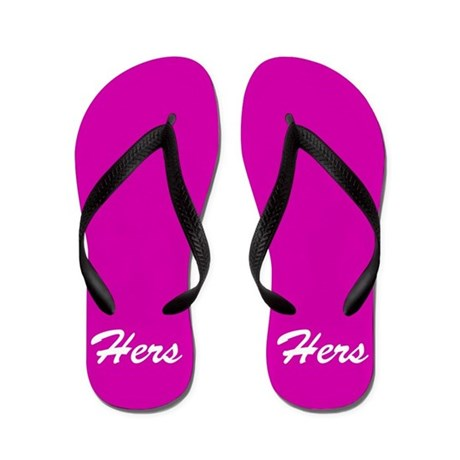 Hot pink His and hers flip flops - for her