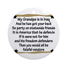 Grandpa has your back! Military Ornament (Round)