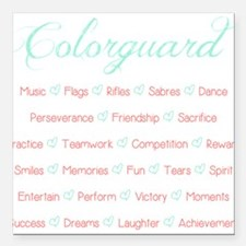 "Colorguard Mint and Coral Square Car Magnet 3"" x 3"