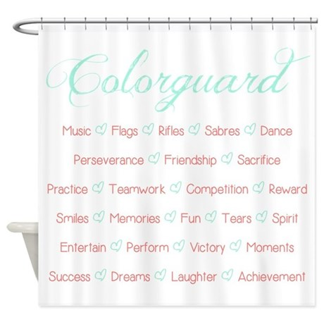 Colorguard Mint And Coral Shower Curtain By