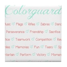 Colorguard Mint and Coral Tile Coaster