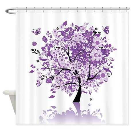 Purple Floral Tree Shower Curtain - Purple Floral Tree Shower Curtain By ShowerCurtainShop