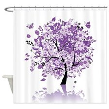 Purple Floral Tree Shower Curtain