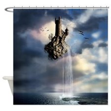 Surreal Castle Waterfall Shower Curtain